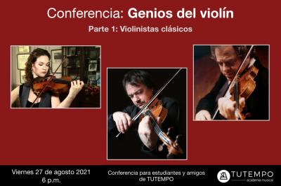 Afiche conferencia genios del violin